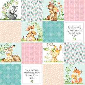 Nursery Quilt Top - Wholecloth Patchwork Animals Baby Girl- Pink, Aqua, Blush