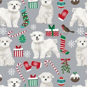 maltese christmas fabric // maltese christmas gift wrap, cute dog christmas fabric, pet christmas fabric, dog christmas fabric, cute dog, dogs, xmas, holiday