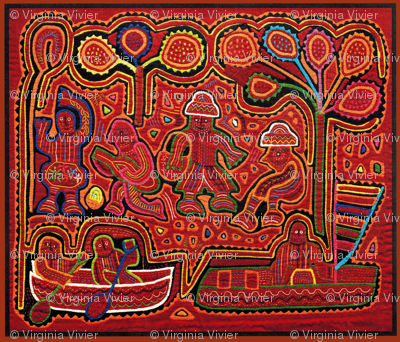 Kuna Indian Men in Boats