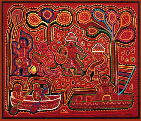 Kuna Indian Men in Boats fabric by vagabond_folk_art on Spoonflower - custom fabric