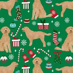 golden doodle christmas fabric // goldendoodle fabric, cute doodle dog fabric, christmas fabric, dog christmas fabric, christmas gift wrap, golden doodle gift wrap, doodle wrapping paper, - green
