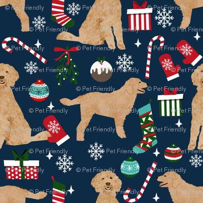 golden doodle christmas fabric // goldendoodle fabric, cute doodle dog fabric, christmas fabric, dog christmas fabric, christmas gift wrap, golden doodle gift wrap, doodle wrapping paper, - navy