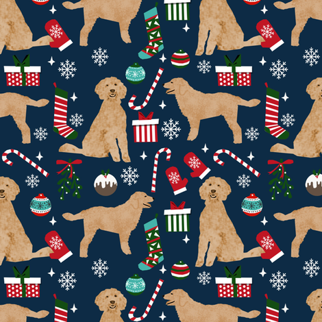 golden doodle christmas fabric // goldendoodle fabric, cute doodle dog fabric, christmas fabric, dog christmas fabric, christmas gift wrap, golden doodle gift wrap, doodle wrapping paper, - navy fabric by petfriendly on Spoonflower - custom fabric