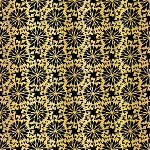 Metallic Black on Gold Floral Grid Pattern Seamless Vector, Drawn Foil