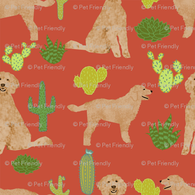 doodle dog cactus fabric // cactus dog fabric, doodle dog fabric, goldendoodle fabric, cute dog fabric, dog breeds fabric, dog fabric- rust