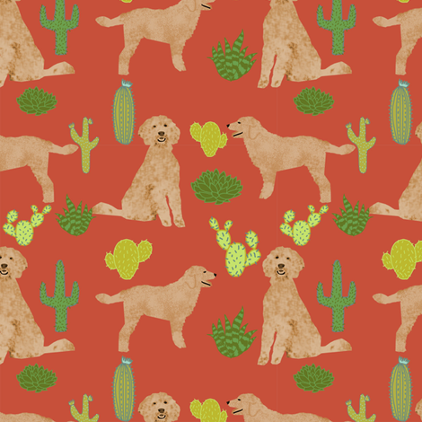 doodle dog cactus fabric // cactus dog fabric, doodle dog fabric, goldendoodle fabric, cute dog fabric, dog breeds fabric, dog fabric- rust fabric by petfriendly on Spoonflower - custom fabric