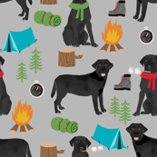 black lab dog camping fabric // labrador fabric, black lab fabric, black labrador fabric, camping fabric, cute dog, dog breeds fabric, - grey