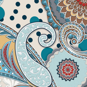 Paisley Mandala aqua cream teal red  XL