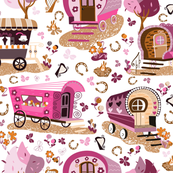 Wandering Wagons in Pink