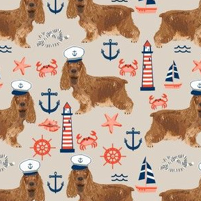 cocker spaniel nautical fabric // nautical sailing sailor dog, cocker spaniel fabric, dog fabric, spaniel fabric by the yard, nautical fabric by the yard, home decor fabric - tan