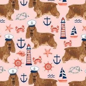 cocker spaniel nautical fabric // nautical sailing sailor dog, cocker spaniel fabric, dog fabric, spaniel fabric by the yard, nautical fabric by the yard, home decor fabric -  pink