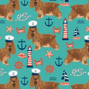 cocker spaniel nautical fabric // nautical sailing sailor dog, cocker spaniel fabric, dog fabric, spaniel fabric by the yard, nautical fabric by the yard, home decor fabric -  turquoise