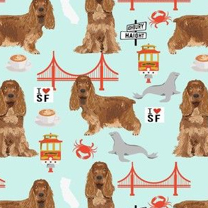 cocker spaniel san francisco dog fabric // dog fabric, cocker spaniel fabric by the yard, cute dog fabric, san fran fabric, cute dog - light