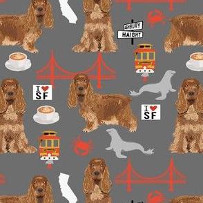 cocker spaniel san francisco dog fabric // dog fabric, cocker spaniel fabric by the yard, cute dog fabric, san fran fabric, cute dog -grey