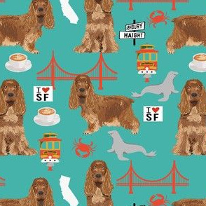 cocker spaniel san francisco dog fabric // dog fabric, cocker spaniel fabric by the yard, cute dog fabric, san fran fabric, cute dog - teal