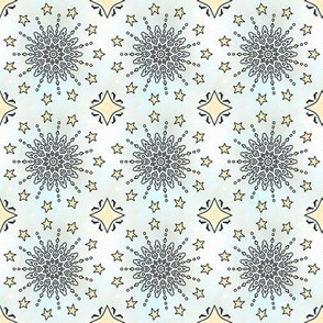 Lem Project 836 | Winter Snowflakes and Stars on Blue