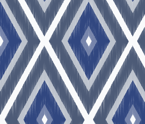 IKAT Bohemian Blues-Large fabric by cleolovescolor on Spoonflower - custom fabric