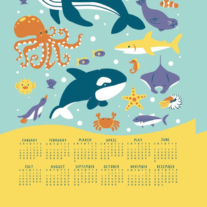 Sea Animals 2019 Tea Towel Calendar