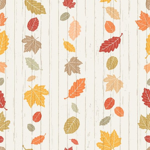 Bold + Colorful White Autumn Leaves Stripe on White Shiplap Boardwalk Background //  Sing for Your Supper Modern Farmhouse Collection // Autumn Edition