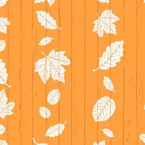 Bright Orange + White Autumn Leaves Stripe on White Shiplap Boardwalk Background //  Sing for Your Supper Modern Farmhouse Collection // Autumn Edition