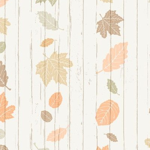 Pastel Autumn Leaves Stripe on White Shiplap Boardwalk Background //  Sing for Your Supper Modern Farmhouse Collection // Autumn Edition