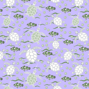 Sea Turtle Heaven Green and Lavender