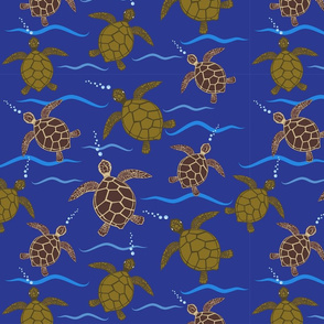SeaTurtles Swimming in Dark Blue Ocean