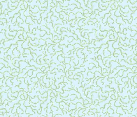 Green on Blue Swirling Vines fabric by debbiejohnsonartist on Spoonflower - custom fabric