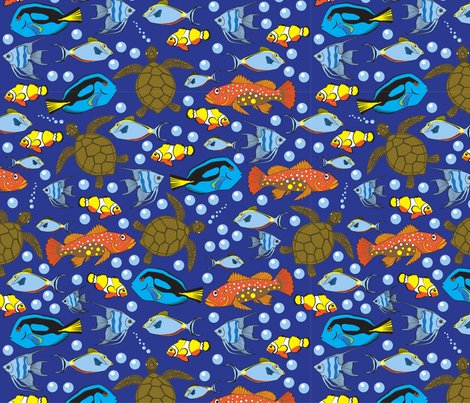 Oceanfishbubblesblueorangeyellowturtlesseamlesspattern_shop_preview