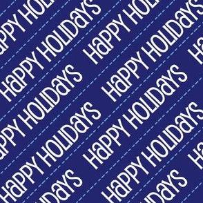 Christmas Happy Holidays Christmas Light Blue, Blue Diagonal Cute Holiday Design