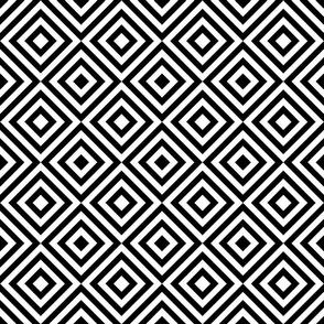 Geometric Diamonds Pattern - Black & White
