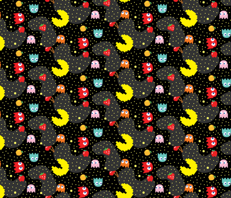Pacman Pattern Abstract 4040 Fabric Khaus Spoonflower Amazing Pacman Pattern