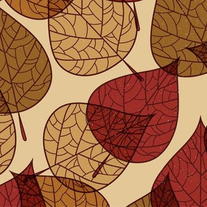 Fall Autumn Leaves Tan, Light Brown, Rust, Gold, Earth Tones