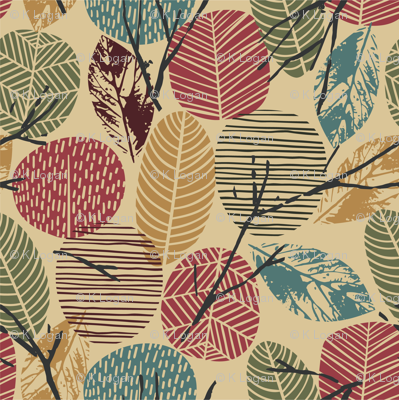Fall Autumn Leaves, Twigs, Branches, Teal, Greens, Tan, Light Brown, Rust, Gold, Earth Tones
