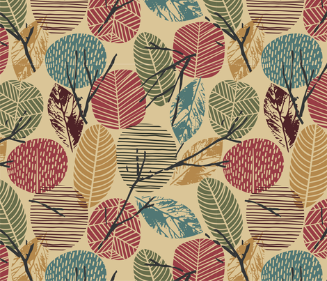 Fall Autumn Leaves, Twigs, Branches, Teal, Greens, Tan, Light Brown, Rust, Gold, Earth Tones fabric by khaus on Spoonflower - custom fabric
