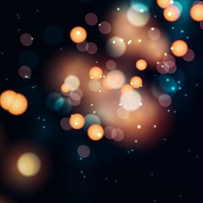 Bokeh Blurred Lights Stripes Black Gold Blue