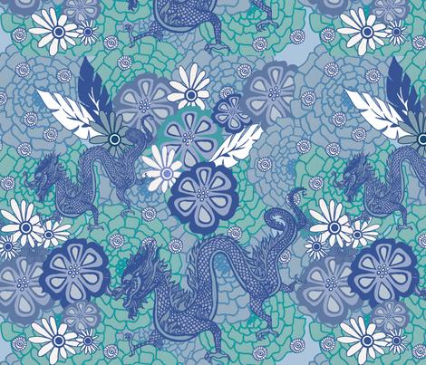 Blue dragon fabric by lovebirdt on Spoonflower - custom fabric
