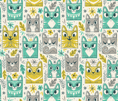 Tiki Kitty (Large) fabric by therewillbecute on Spoonflower - custom fabric