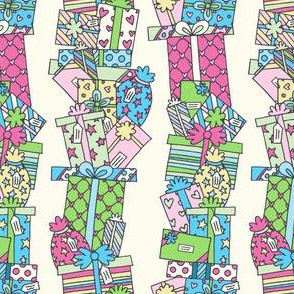 Stacked Pressies in Teal, Green & Pink on Cream