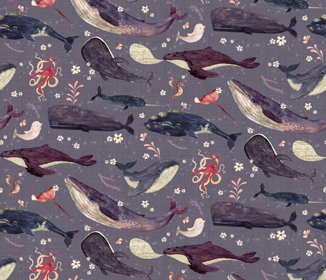 whale's song lavender {large} fabric by katherine_quinn on Spoonflower - custom fabric