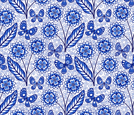 Blue Butterflies with Flowers fabric by willowbirdstudio on Spoonflower - custom fabric