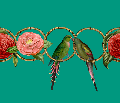 Parrakeet Love with Camellias fabric by the_archivist on Spoonflower - custom fabric