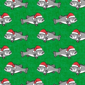 Christmas Bass - Fish - grey on green