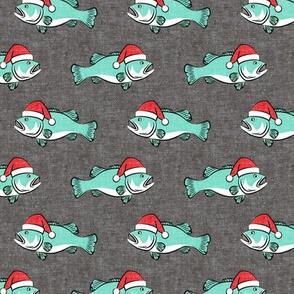 Christmas Bass - Fish - teal on grey