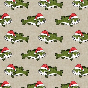 Christmas Bass - Fish - green on beige