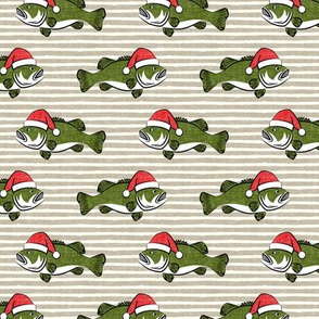 Christmas Bass - Fish - green on beige stripes