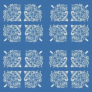 Asian Fans on Cobalt Blue Square Tiles