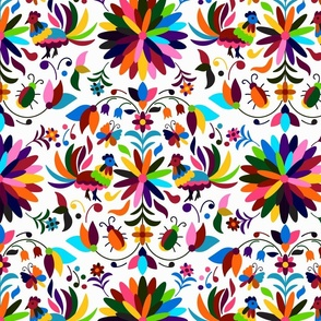 Bugs and Chickens Mexican Otomi on White