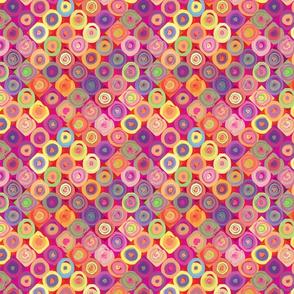 Mosaic Rainbow Circles in Squares
