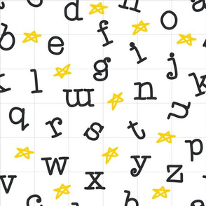A-to-Z Alphabet with Stars in Black, White and Yellow
